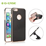 iPhone 6/6S Case, G-CASE® [Plating Soft] Ultra Slim PU Leather Case Built-in Metal Plate iPhone 6/6S Skin cover & Protector Fits For Any Magnetic Car Cellphone Mounts - Black