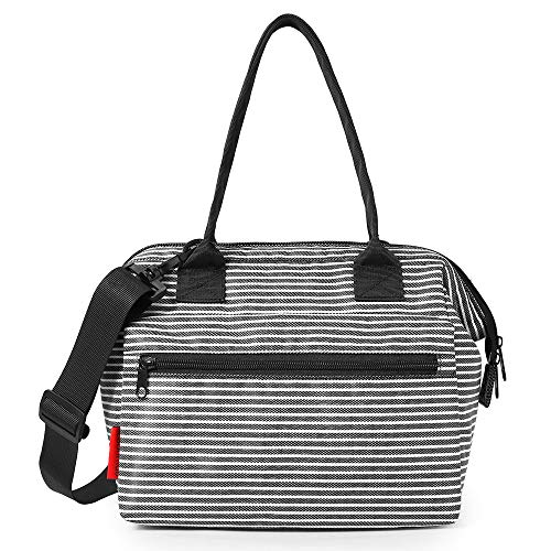 esonmus Lunch Bag Portable Leakproof Insulated Lunch Box Heat Cool Insulation Baby Bottle Food Tote Bag with Detachable Shoulder Strap-Cross Stripe
