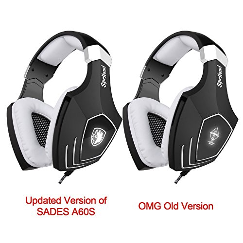 [2016 Newly Updated USB Gaming Headset] SADES A60/OMG Computer Over Ear Stereo Heaphones With Microphone Noise Isolating Volume Control LED Light (Black+White) For PC & MAC