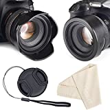 Reversible Tulip Flower Lens Hood for Canon Nikon Sony DSLR + Center Pinch Lens Cap with Cap Keeper Leash + Premium Microfiber Lens Cleaning Cloth Set (52mm)