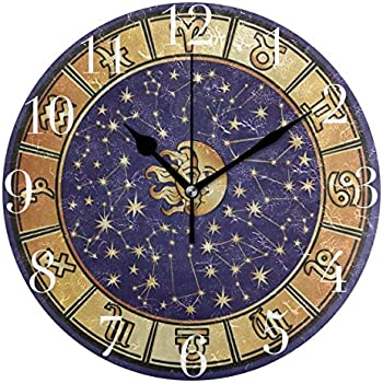 FunnyCustom Round Wall Clock Constellation Star Moon Sun Face Universe Acrylic Creative Decorative for Living Room/Kitchen/Bedroom/Family
