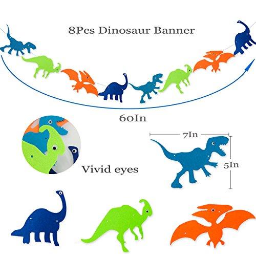 Dinosaur Happy Birthday Banner, Colorful Felt Garland Flag for Dino Jungle Jurassic First Birthday Dinosaur Party Supplies Decorations by Haptda (Image #2)