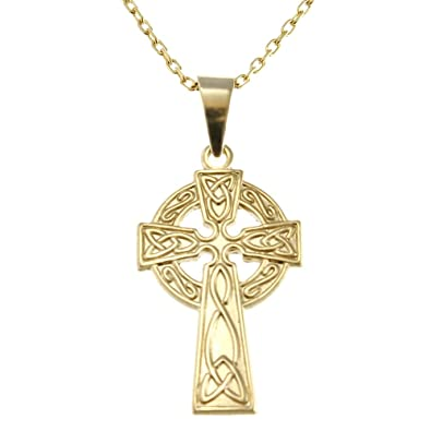 9ct Gold Celtic Cross with 18 Chain Jewellery Presentation Box