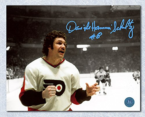 AJ Sports World Dave The Hammer Schultz Philadelphia Flyers Signed Spotlight Fight 11x14 Photo