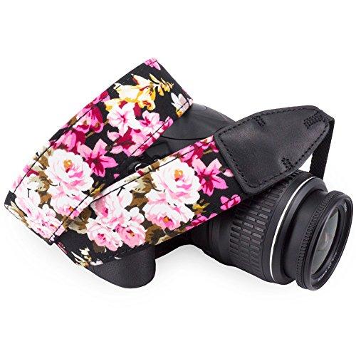 Wolven Pattern Cotton Camera Neck Shoulder Strap Belt Compatible for All DSLR/SLR/Men/Women etc, Black Flower