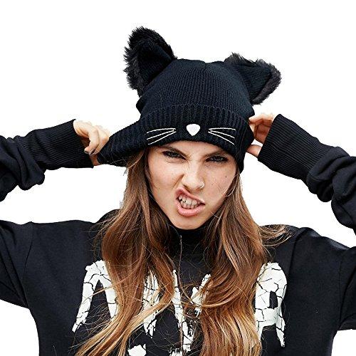 Zgllywr Women's Hat Cat Ear Crochet Braided Knit Caps ()