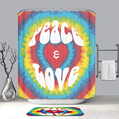 BEICICI Art Shower Curtain with Doormat Bath Mat 70s Party Decorations Peace and Love Groovy Tie Dye Heart Shaped Abstract Hippie Mildew Resistant Shower Curtain with Non-Slip Floor Doormat Bath Rugs (Tie Dye Toothbrush)