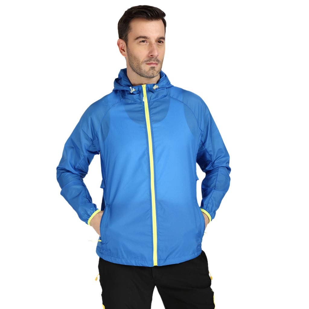 Colmkley Unisex Windproof Sunscreen Jacket Outdoor Bicycle Sports Quick Dry Coat Blue by Colmkley Sun Protection Clothing