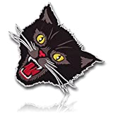 """[Single Count] Custom, Cool & Awesome {8'' Inch} Feline Head Shaped Tactical Morale Screaming Kitten Kitty Biker Jacket Emblem Badge Sew Iron On Patch """"Brown, White, Red, Black, & Yellow"""" {LICENSED}"""