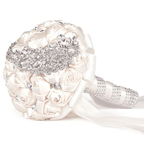 MyGift Wedding Bouquet, Ivory Satin Bride Holding Bouquet, Artificial Roses & Rhinestones Wedding Flowers
