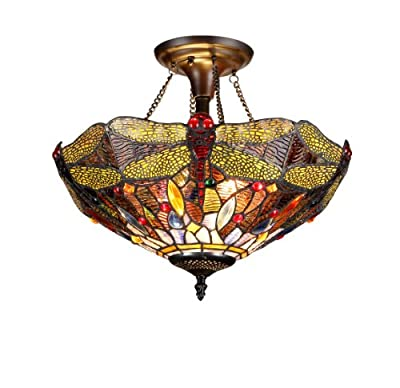 Chloe Lighting Chloe Lighting Dragan 2-Light Tiffany Style Dragonfly Semi Flush Ceiling Fixture with 16 in. Shade