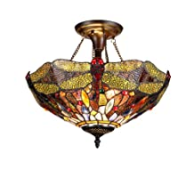 Chloe Lighting  Dragan 2-Light Tiffany Style Dragonfly Semi Flush Ceiling Fixture with 16-Inch Shade