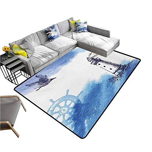 (Dining Table Rugs Lighthouse,Nostalgic Watercolors with Gull Ancient Anchor Lighthouse Nautical Theme,Blue and White 64