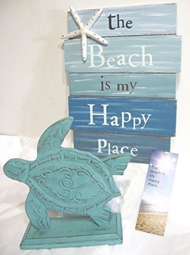 Beach Sign and Turtle Decor The Beach Is My Happy Place Wooden Sign And Wooden Sea Turtle 3 Piece Bundle ()
