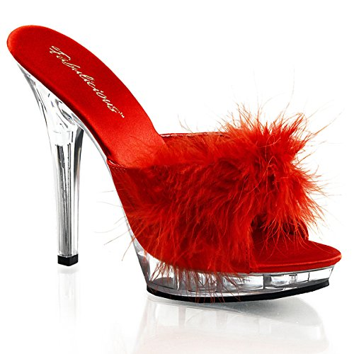 5 Inch Sexy Lingerie Shoe High Heel S On Slide With Marabou Faux Fur Red Size: 10 -