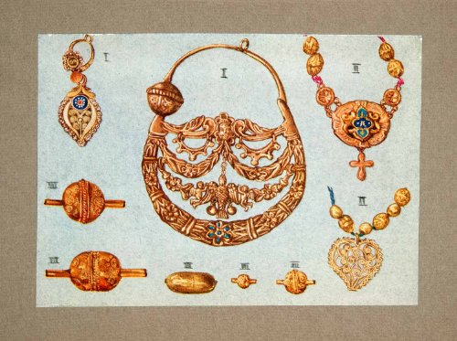 1928 Print Earrings Gold Beads Pendants Jewelry Votive Canziani Church Necklace - Orig. Tipped-In Print from PeriodPaper LLC-Collectible Original Print Archive