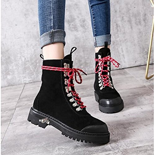 HSXZ Women's Shoes Real Leather Cowhide Rubber Winter Fashion Boots Combat Boots Boots Walking Shoes Flat Heel Round Toe Mid-Calf Boots Rivet Black 8LqRw03S