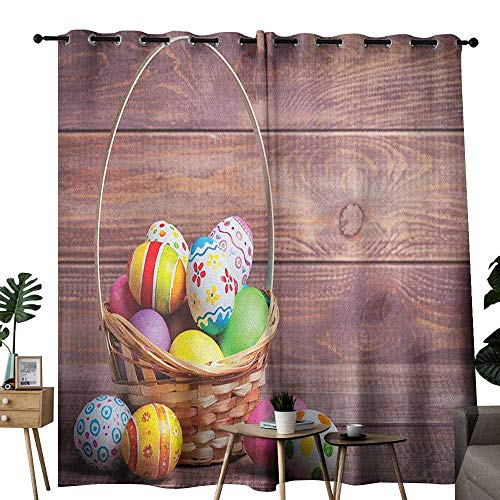 - duommhome Easter Privacy Curtain Colorful Eggs with Flowers and Polka Dots in a Weave Basket on Wooden Rustic Pattern Set of Two Panels W72 x L108 Multicolor