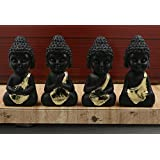 JaipurCrafts Ceramic Child Monk Showpiece (10.5cm, Black and Gold) - Set of 4