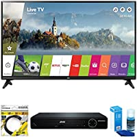 LG 49 Class Full HD 1080p Smart LED TV 2017 Model (49LJ5500) with Sylvania HDMI 1080p High Definition DVD Player, 6ft High Speed HDMI Cable Black & Universal Screen Cleaner for LED TVs