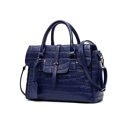 Nuevo Mujer bolso de mano PU piel Moda casual bolso bandolera Dama bolsa Azul