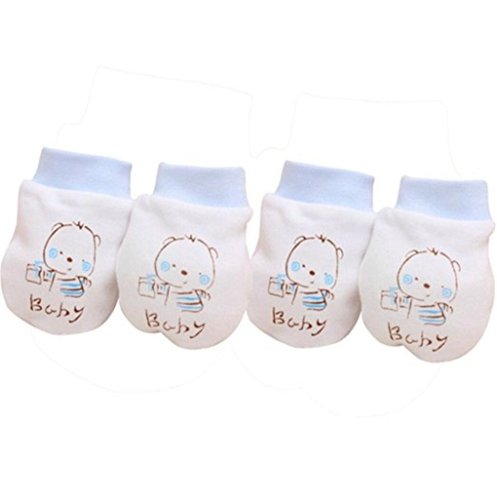 2 Pairs Cute Cartoon Baby Infant Boys Girls Anti Scratch Mittens Soft Gloves Greenlans