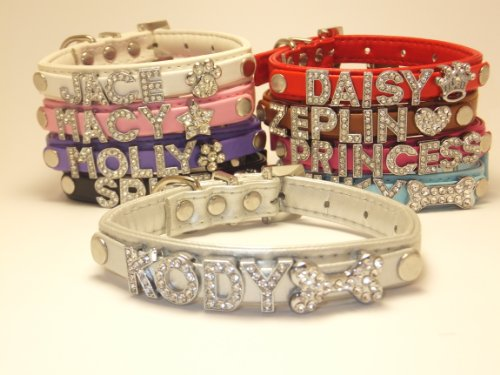 Personalized X-Mas or Regular Charm Custom Fashion Leather Classic Dog Cat Collar Swarovski Crystal Rhinestone Letters Plus Free Charm or Christmas Holiday Charm Limited Editions Black, Hot Pink, Purple, Baby Blue, White, Red, Brown, Silver, Pink Size Xtra Small and Small (Silver, SM)