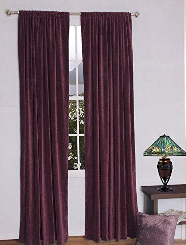 Fascination Royal 100%Thick Cotton Velvet lined Curtain ROD POCKET (54''w X 108''h, PLUM)
