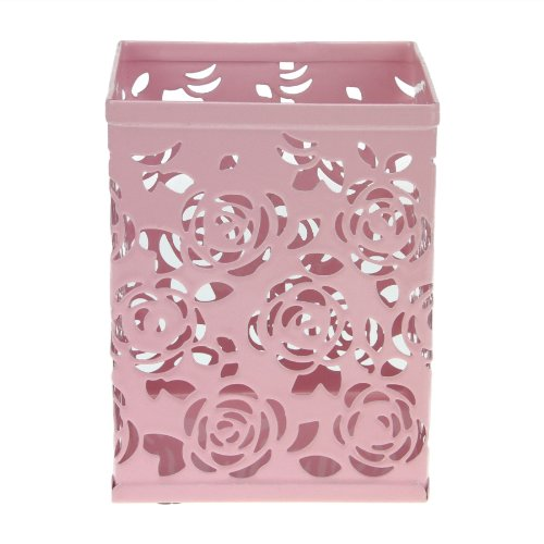 Pen Cup Clock (Bao Core BXT Fashionable Carved Hollow Rose Flower Pattern Metal Pencil Pen Cases Holder Box Cup Pink)