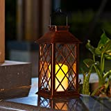 TAKE ME Solar Lantern,Garden Hanging Lantern Outdoor-Waterproof LED Flickering Flameless Candles Mission Lantern for Table,Outdoor,Party