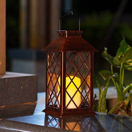 Flickering Candle Lantern - TAKE ME Solar Lantern,Garden Hanging Lantern Outdoor-Waterproof LED Flickering Flameless Candles Mission Lantern for Table,Outdoor,Party
