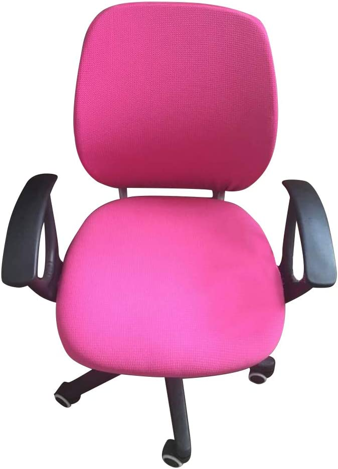 MIFXIN Computer Office Chair Cover Rotating Armchair Slipcover Stretchable Removable Universal Chair Protective Cover Chair Protector (Pink)