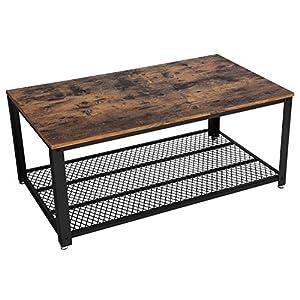 VASAGLE Table Basse au Design Industriel avec Grand Plateau, Pieds réglables, Protection du Sol, Armature en métal – Stable – Facile à Monter