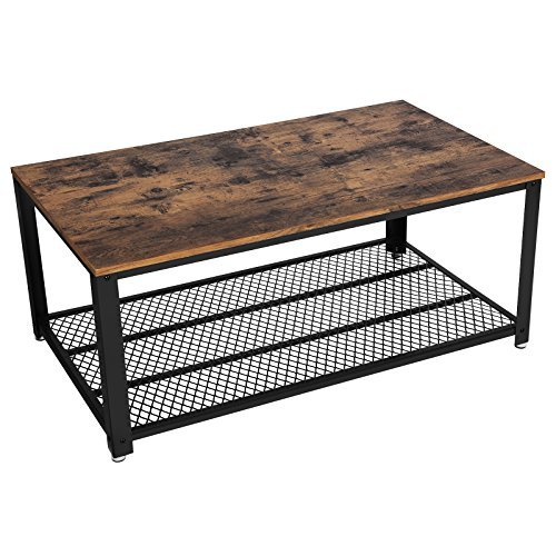 SONGMICS Industrial Coffee Table, Cocktail Table with Storage Shelf for Living Room, Wood Look Accent Furniture with Metal Frame, Easy Assembly ULCT61X