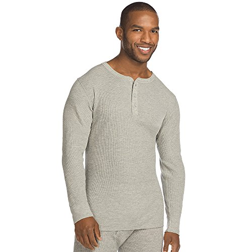Hanes X-Temp Men's Thermal Henley_Heather - Hanes Shipping International