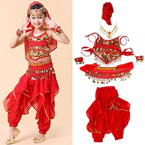Different Types Belly Dance Costumes (Girls Dance Costume Set --Trousers, Halter Top, Head Chain, Head Veil, Bracelets with Sequins for Halloween Christmas Party Belly Dance(XL))