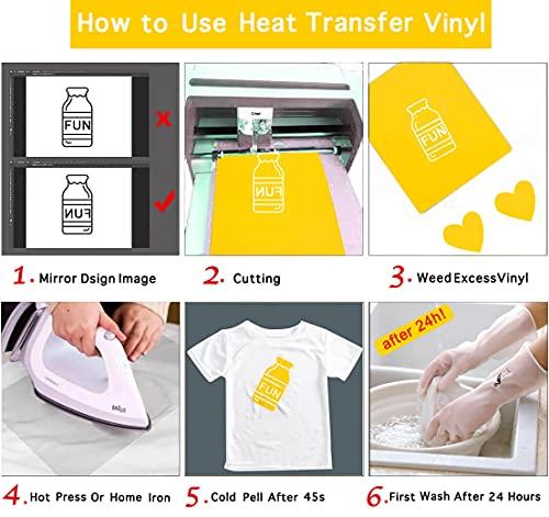 Heat Transfer Vinyl for Cricut Iron On Bundle,16 Sheets(10