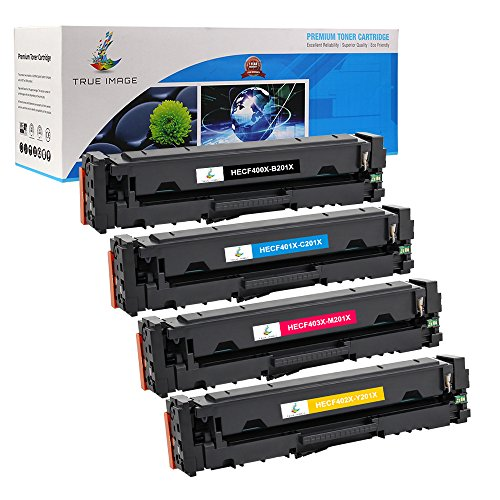 True Image 4 Packs High Yield HP 201A CF400A 201X CF400X Compatible Ink HP MFP M277dw M277 Toner Cartridge Replacement for HP Color Laserjet Pro MFP M277dw Toner ( CF400X CF401X CF402X CF403X ) (4 Pack Laser Toner)