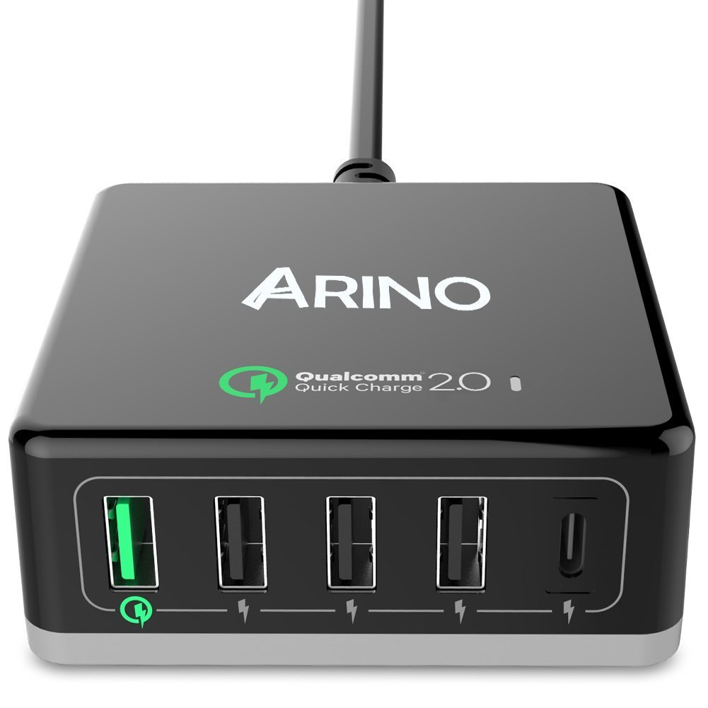 ARINO USB Charge Station, Wall Outlet Power Adapter Portable Travel Charger Plug for iPhone iPad MacBook Tablet Samsung, HTC, Blackberry, Bluetooth Speaker Headset, Power Bank, 5-Port Inclued Type C