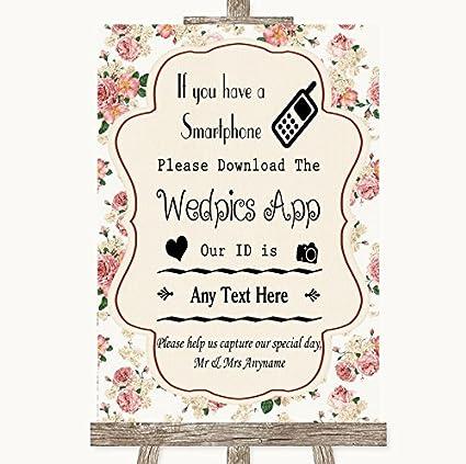 Cartel de boda vintage con diseño de rosas Framed Black ...