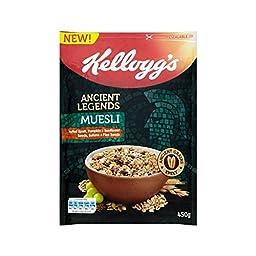 Kellogg\'s Ancient Legends Muesli Puffed Spelt, Pumpkin & Sunflower Seeds 450g - Pack of 4