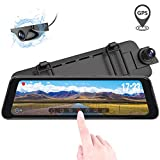 Vantrue M1 Rearview Mirror Dash Cam GPS Waterproof Backup Camera 9.88' Dual 1080P Front and Rear Dash Cam, 2K 1296P Touch Screen Front Dash Camera, Night Vision, 24 Hours Parking Mode, Motion Sensor