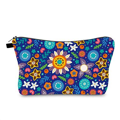 Jom Tokoy Makeup Bag Small Travel Maekeup Bag Blue Sunflower Cosmetic Bag (Sunflower1075)