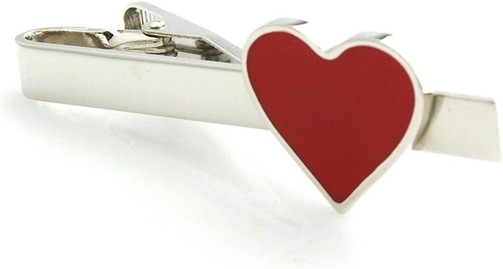 Procuffs Red Heart Valentines Day Love Cupid Gift Tie Clip Black Wedding Bar Clasp