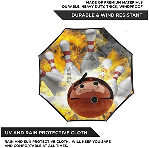 ボウリングボール ユニセックス二重層防水ストレート傘車逆折りたたみ傘C形ハンドル付き