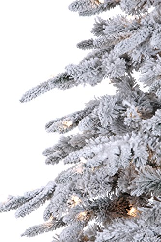 7'6'' Flocked Bavarian Pine, Artificial Prelit White Christmas Tree - Clear Lights Stay on if Bulb Burns Out! Natural Looking with Real-Like-Snow Color - Top Choice for Designers, Includes Storage Bag by Fine Expectations (Image #2)