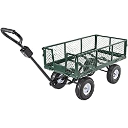 Uenjoy Garden Cart Multifunctional Folding Heavy Duty Wagon Durable Steel Cart, 660Ibs Green