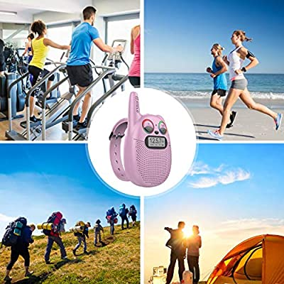 FRS Walkie Talkies with FM, Wearable & Rechargeable Walkie Talkies for Kids, up to 2 Miles Kids Walkie Talkies for Bicycle, Hiking, Camping, Running (Pink): Toys & Games