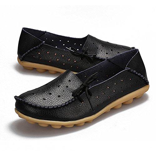 Escarpins Habillé Souple Bateau Chaussures Mocassin Casual Femme Plate Noir Chagana p1qwAXX