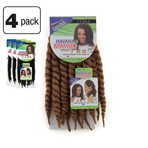 Honeys Honey Havana (4 Packs of Janet Collection Havana Medium Mambo Twist Braid 12